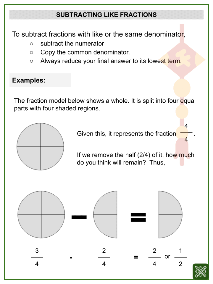 Subtraction of Like Fractions (Chinese New Year Themed) Worksheets (1)