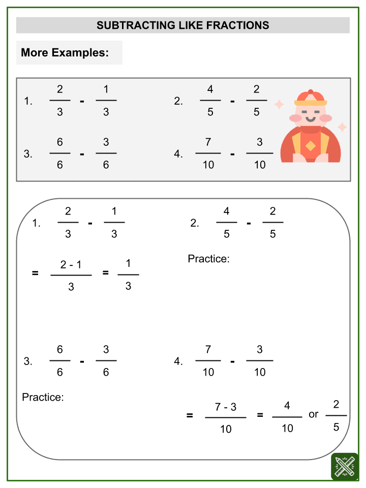 Subtraction of Like Fractions (Chinese New Year Themed) Worksheets (2)