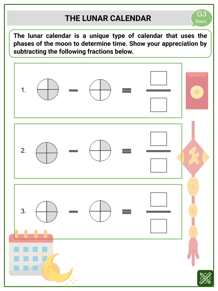 Subtraction of Like Fractions (Chinese New Year Themed) Worksheets (3)