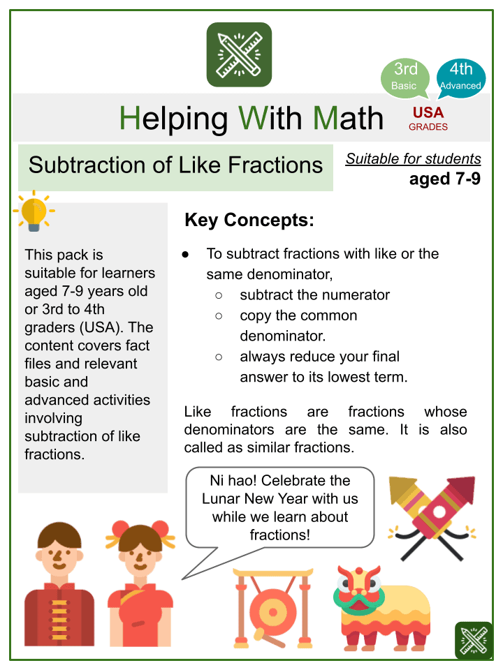 Subtraction of Like Fractions (Chinese New Year Themed) Worksheets
