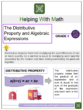 The Distributive Property and Algebraic Expressions 6th Grade Math Worksheets