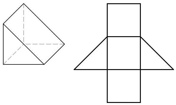 3D representation of a triangular prism