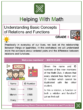 Understanding Basic Concepts of Relations and Functions 8th Grade Math Worksheets