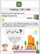 Working with Radicals and Integer Exponents 8th Grade Math Worksheets
