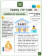 Addition of Decimals (Bank/Money Themed) Worksheets