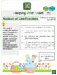 Addition of Like Fraction (Easter Themed) Worksheet