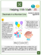 Decimals in a Number Line (Birthday Themed) Worksheets
