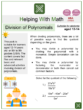 Division of Polynomials (Labor Day Themed) Worksheets