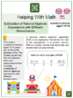 Subtraction of Rational Algebraic Expressions with Different Denominators (Carnival Themed) Worksheets
