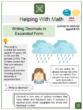 Writing Decimals in Expanded Form (Rainy Season Themed) Worksheets