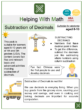 Subtraction of Decimals (Construction Themed) Worksheets