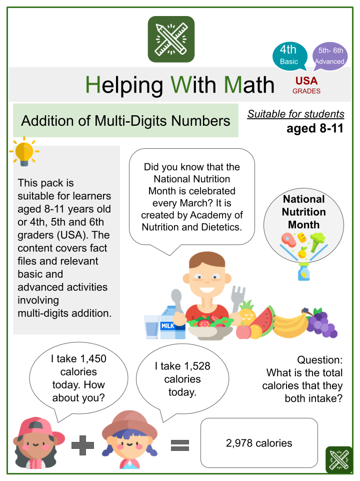 Addition of Multi-Digit Numbers Math Worksheets