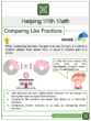 Comparing Like Fractions Math Worksheets