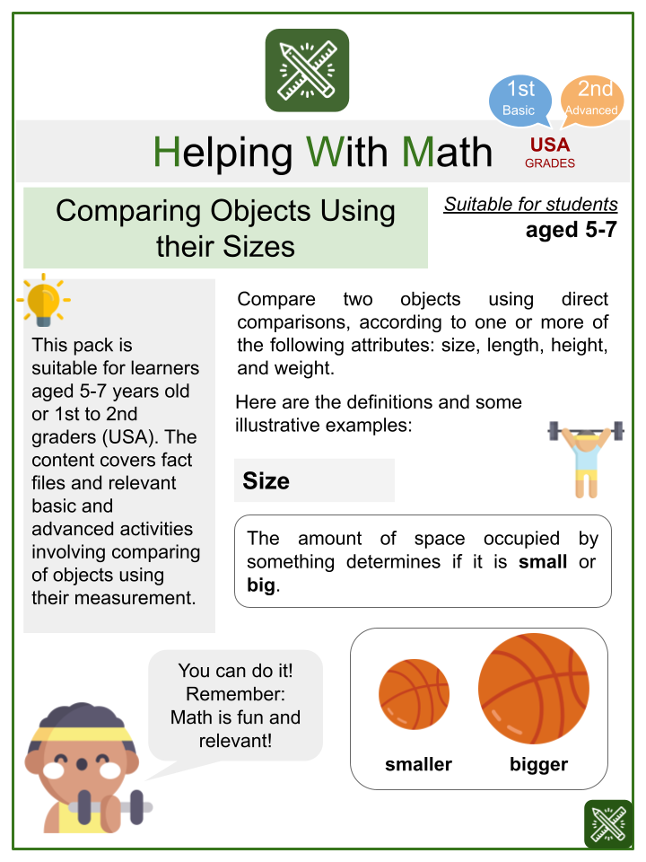 Comparing Object Using their Sizes-Sports Themed Worksheets