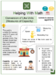 Conversion of Like Units (Measures of Capacity) (Coffee Shop Themed) Worksheets