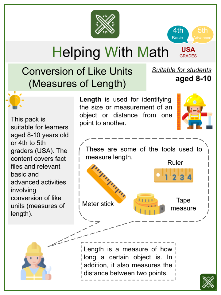 Conversion of Like Units (Measures of Length) (Labor Day Themed) Worksheets