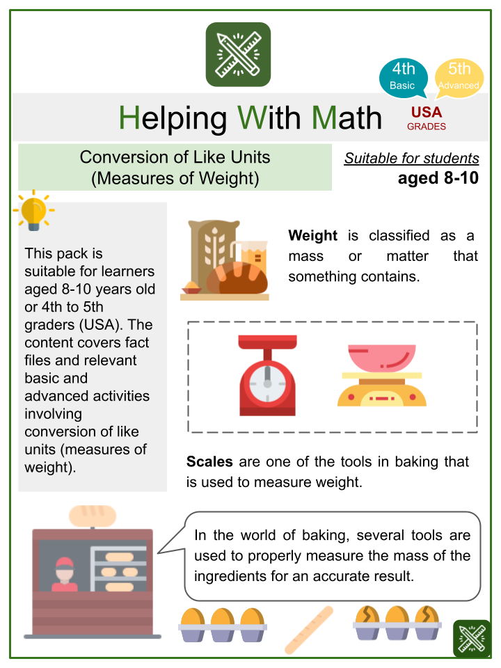 Conversion of Like Units (Measures of Weight) (Math Worksheets