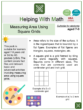 Measuring Area Using Square Grids (Painting Themed) Worksheets