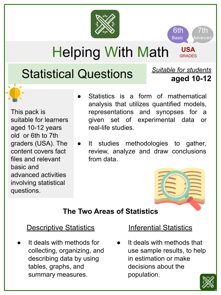 Statistical Questions Research Themed Worksheets