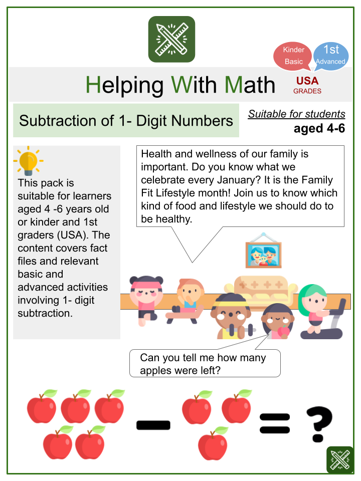 Subtraction of 1- Digit Numbers (Family Fit Lifestyle Month Themed) Math Worksheets