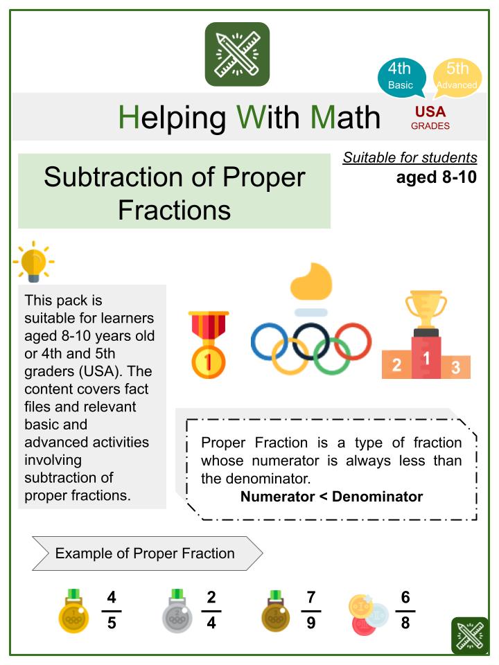 Subtraction of Proper Fractions Math Worksheets