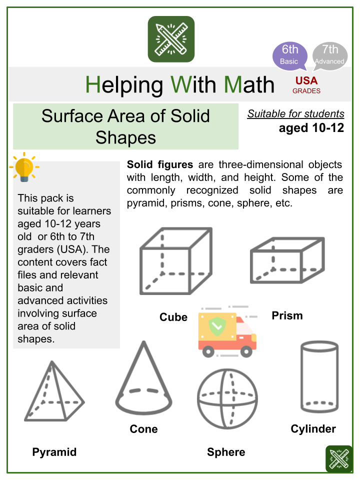 Surface Area of Solid Shapes (Shipping/Delivery Themed) Math Worksheets