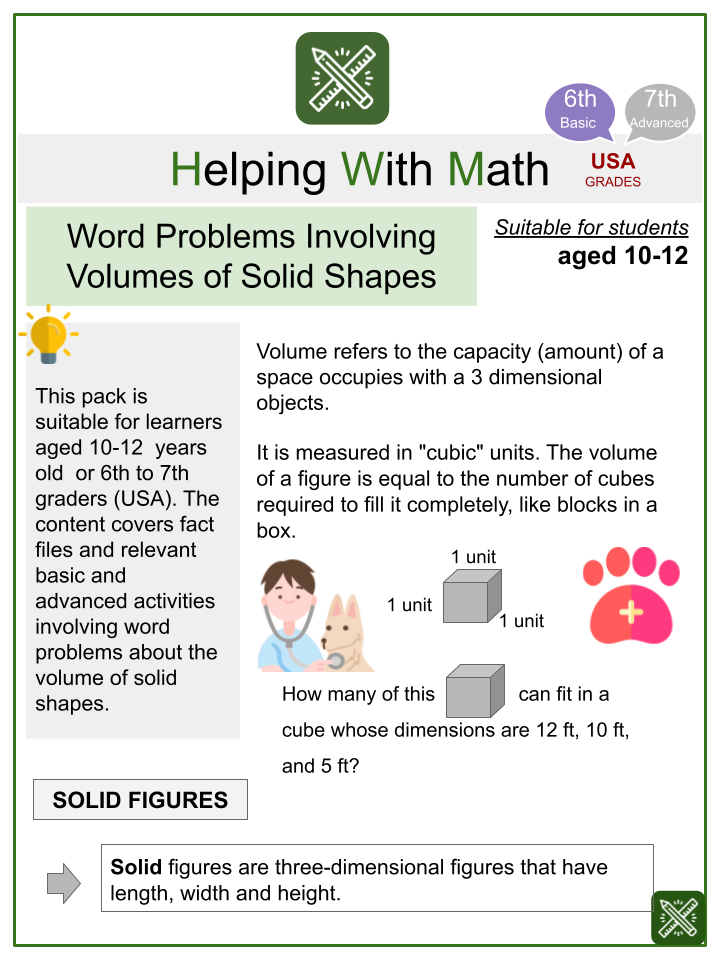 Word Problems Involving Volumes of Solid Shapes (Veterinary Themed) Worksheets