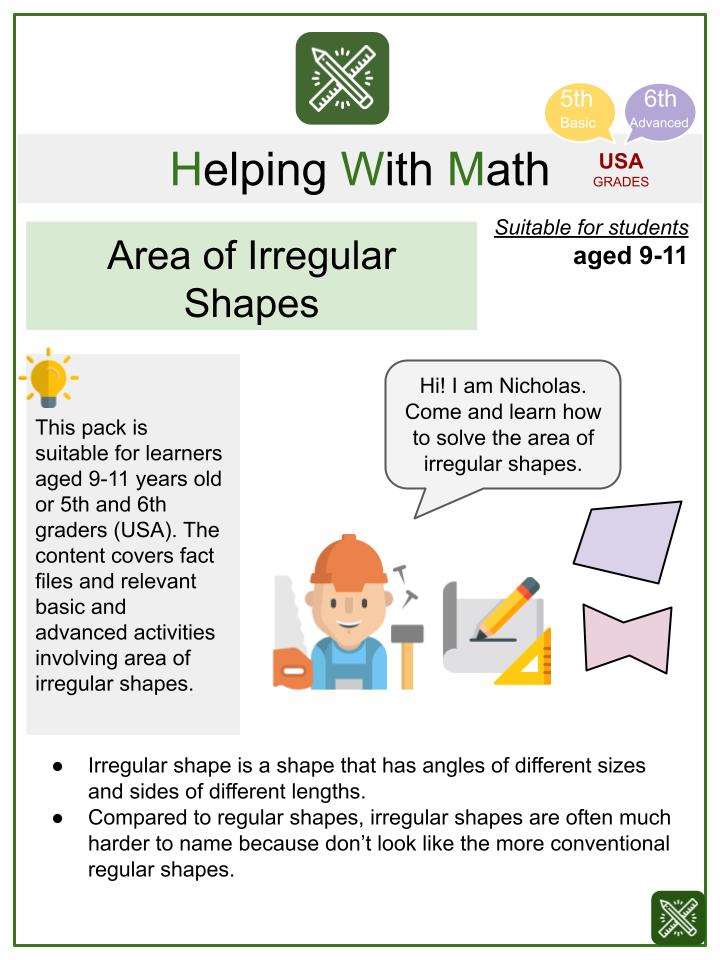 Area of Irregular Shapes (Skills Themed) Math Worksheets