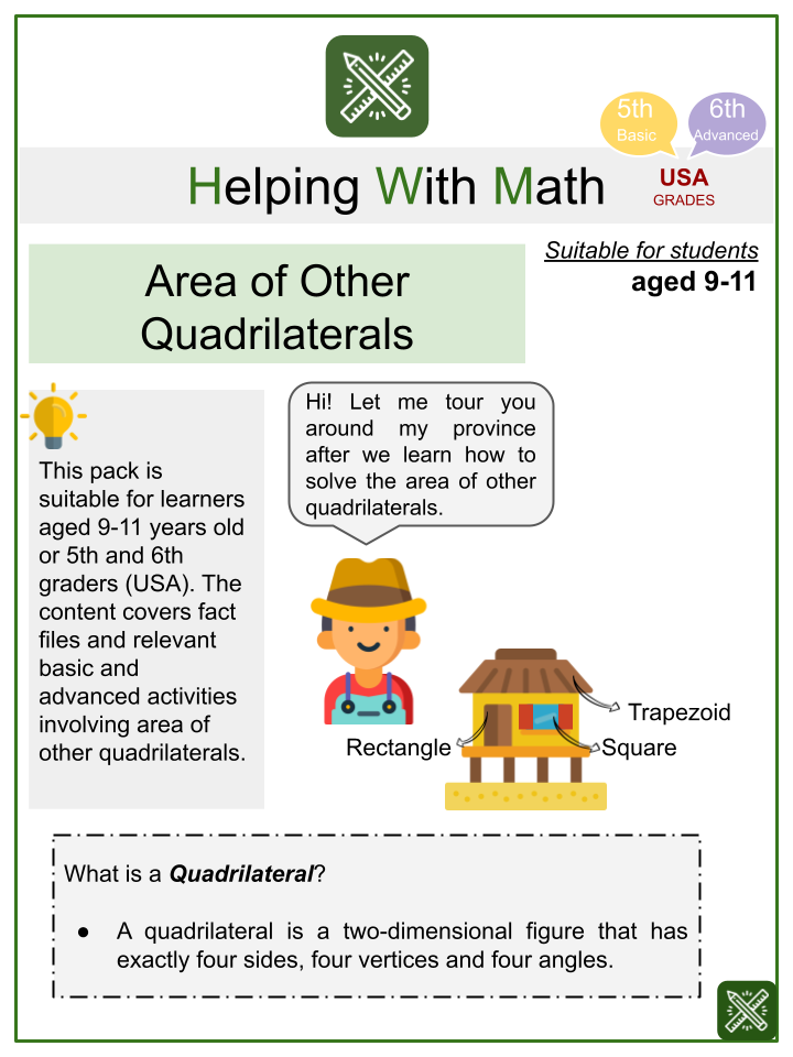 Area of Other Quadrilaterals (Province Themed) Math Worksheets