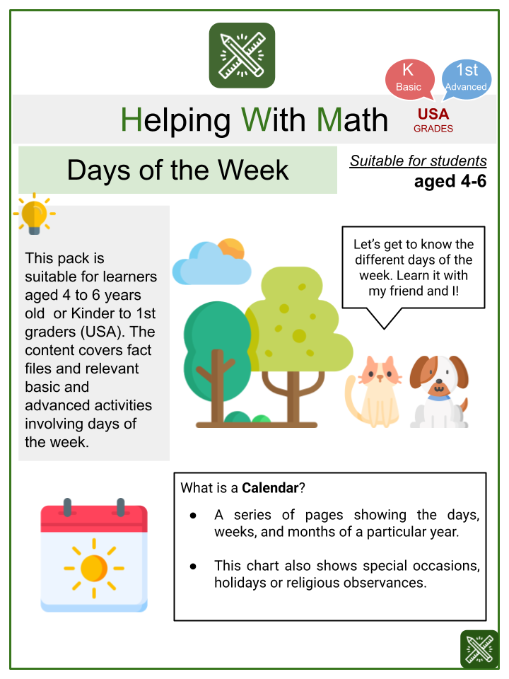 Calendar (Days of the Week) Animals Themed Math Worksheets
