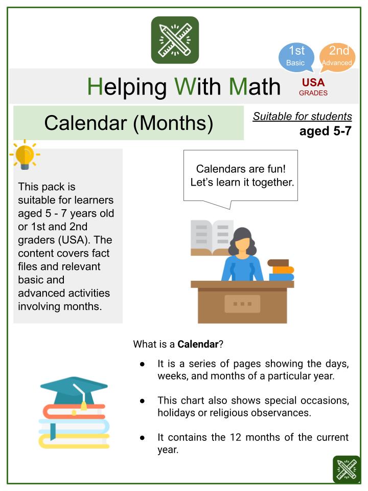 Calendar (Months) (School Themed) Math Worksheets