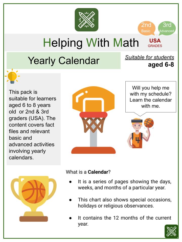 Calendar (Yearly) (Basketball Themed) Math Worksheets