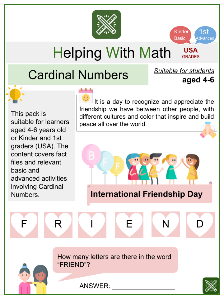 Cardinal Numbers (International Friendship Day) Math Worksheets