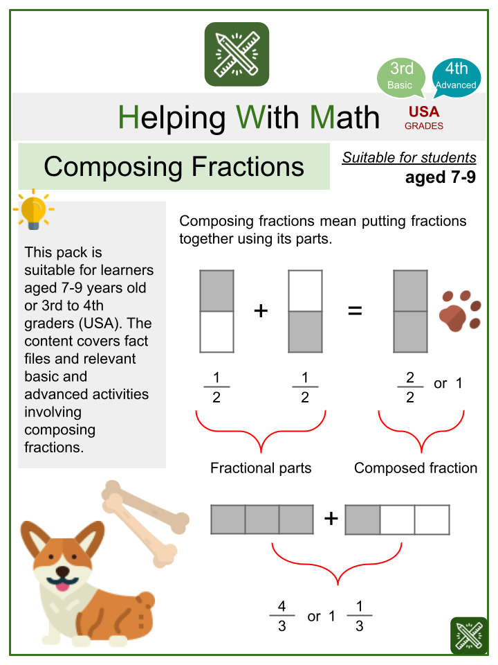 Composing Fractions (International Dogs Day Themed) Math Worksheets