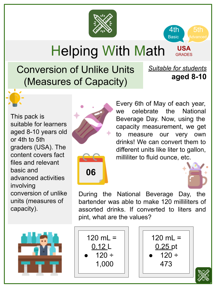 Conversion of Unlike Units (Measures of Capacity) (National Beverage Day Themed) Math Worksheets