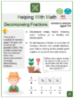 Decomposing Fractions (Gardening Themed) Math Worksheets