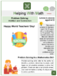 Problem Solving – Addition and Subtraction (World Teachers' Day Themed) Math Worksheets