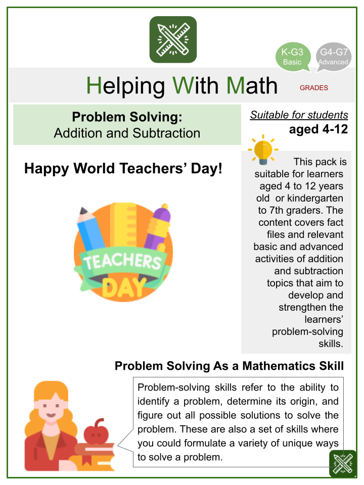 Problem Solving - Addition and Subtraction (World Teachers' Day Themed) Math Worksheets