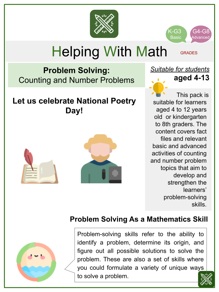 Counting and Number Problems (National Poetry Day Themed) Math Worksheets