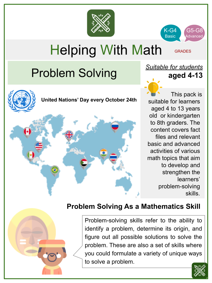 Geometry and Measurement Problem Solving (United Nations' Day Themed) Math Worksheets