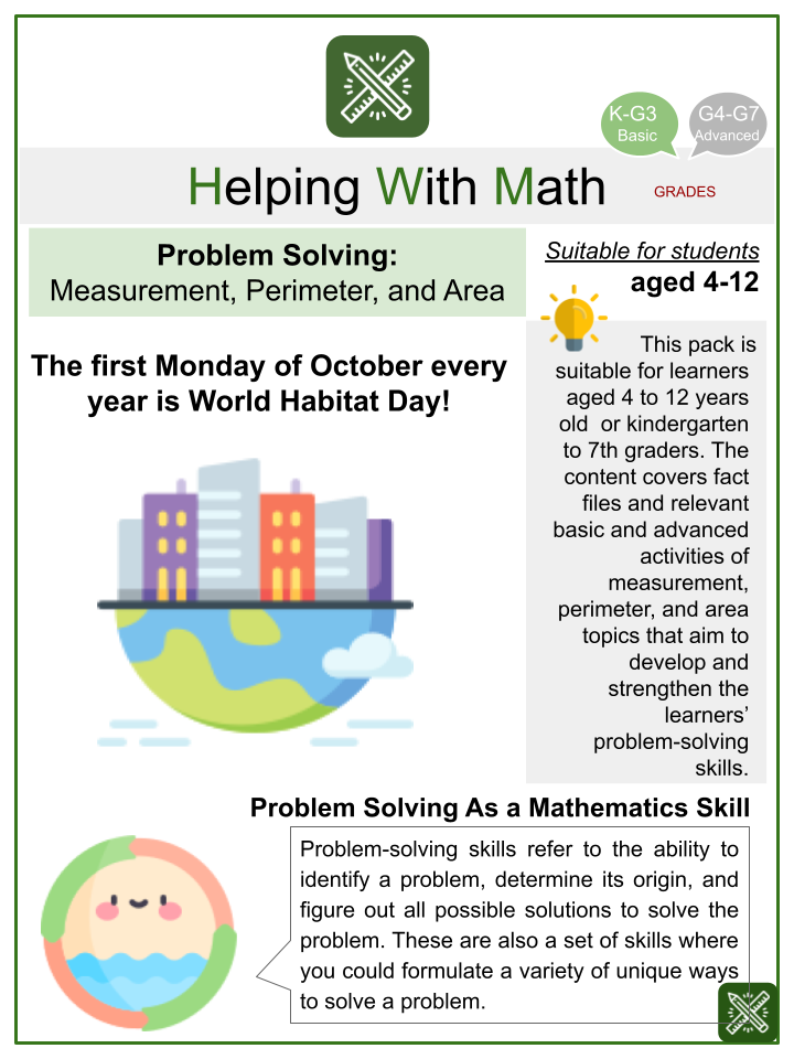 Measurement, Perimeter, and Area Problem Solving (World Habitat Day Themed) Math Worksheets