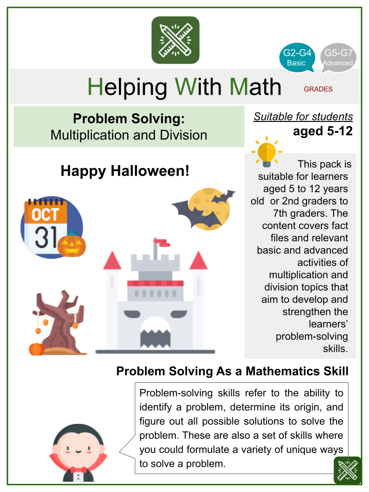Multiplication and Division Problem Solving (Halloween Themed) Math Worksheets