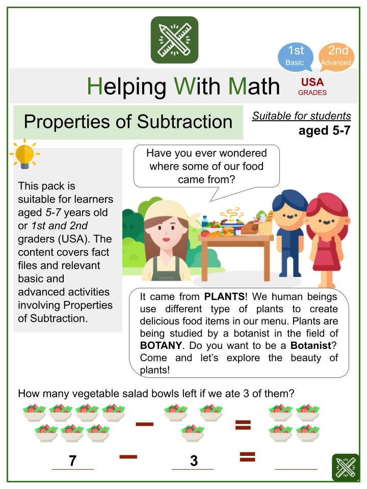 Properties of Subtraction (Botany Themed) Math Worksheets