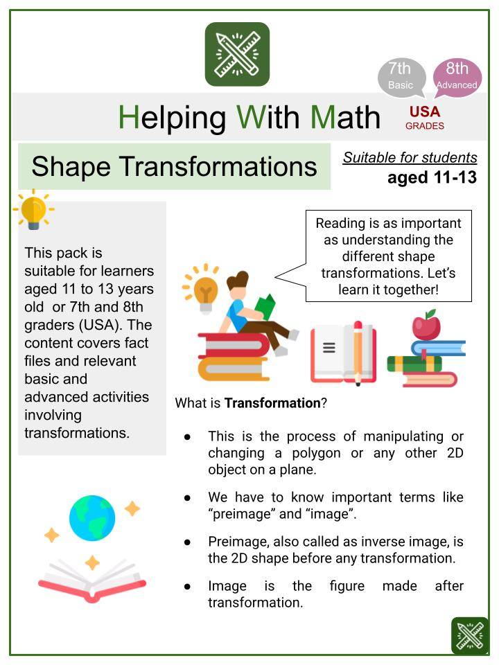 Shape Transformations (International Literacy Day Themed) Worksheets
