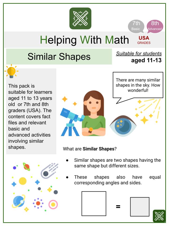 Similar Shapes (Astronomy Themed) Math Worksheets