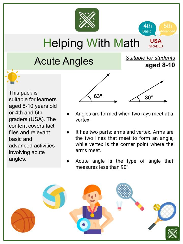 Acute Angles (Sports Themed) Math Worksheets