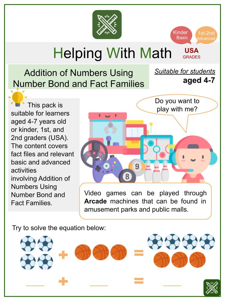 Addition of Numbers using Number Bond and Fact Families (Arcade Themed) Math Worksheets