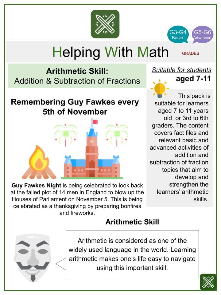 Addition & Subtraction of Fractions (Guy Fawkes Night Themed) Math Worksheets