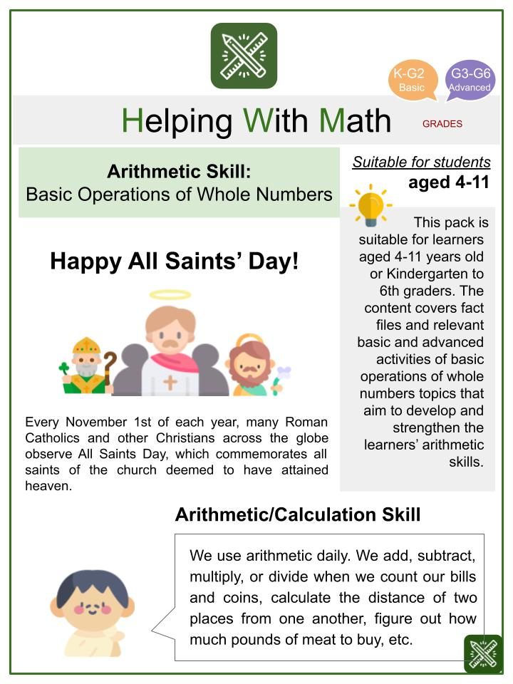 Basic Operations of Whole Numbers (All Saints' Day Themed) Math Worksheets