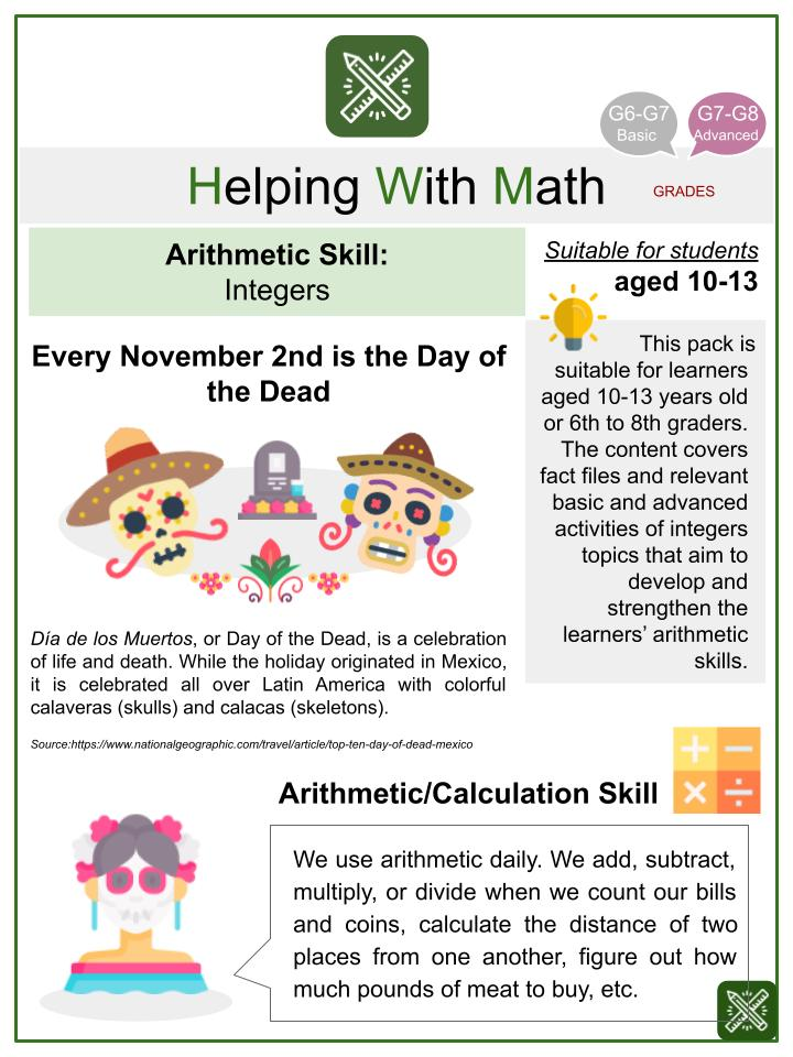 Integers (The Day of the Dead Themed) Math Worksheets